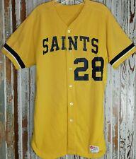 Vtg Defunct SAINTS Jersey #28 MiLB Baseball Jersey Mens 42 1970's Button Cotton