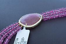 14K Gold Spacer Natural Pink Sapphire Slice with Mystique Quartz Beads Bracelet
