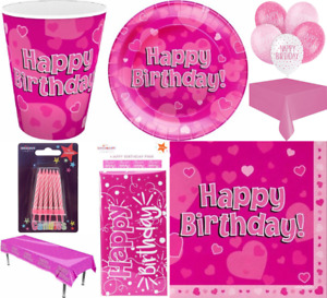 Girls Pink Theme Birthday Decor Party Supplies Tableware Napkins Plates Cups