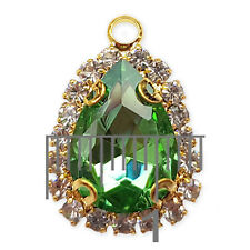 Gold Glass Crystal Diamante Pendant Charm with Loop -Jewellery Making Necklace