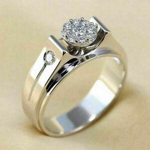 14K White Gold Men's Gift Ring For Special Ocassion 0.71 Ct VVS1/D Round Diamond