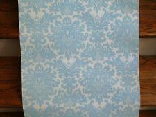 MOM'S ANTQ RARE VTG Dbl Roll FLOCKED Velvet Suede ICE BABY BLUE Wallpaper 1970's