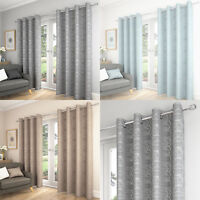 Saturn Swirls Lined Ready Made Curtain Eyelet Ring Top Curtains Pair