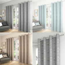 Saturn Swirls Geometric Lined Ready Made Curtain Eyelet Ring Top Curtains Pair