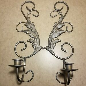 """Wall Candle Holder Set Of 2 Gray 16"""" Long, 5.5"""" Wide"""