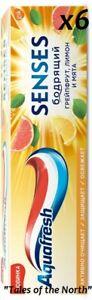 6 x AQUAFRESH Senses Energizing Grapefruit ,75 ml