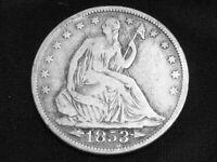 1853 Seated Liberty Half Dollar Dollar w/ Arrows and Rays --- Very Good