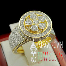 Real Silver Yellow Gold Finish Cluster Solitaire Lab Diamond Promise Bridal Ring
