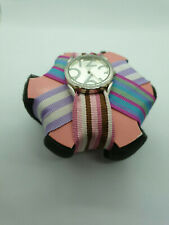 ladies marks & spencer silver fashion watch 3 different color canvas straps.b3.