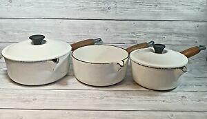 Le Creuset Vintage White Cast Iron Set of 3 Saucepans