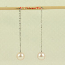 14k Solid White Gold Threader Chain; AAA Pink Cultured Pearl Drop Earrings TPJ