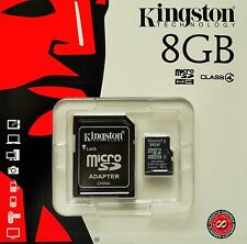 Kingston 8gb MicroSD sdhc Class 4 Carte mémoire avec sd Adaptateur sdc4/8gb NOUVEAU & OVP