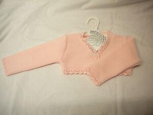 PEX BABY GIRLS  BOLERO CARDIGAN STYLE SHEBA WHITE OR PINK SIZES 0/3 3/6 6/9 9/12