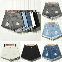 Plus Size Women Ripped Denim Jean Mini Shorts High Waist Casual Short Hot Pants