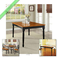 Farmhouse Dining Table Kitchen and Dining Room Tables Wood Furniture, Black Oak
