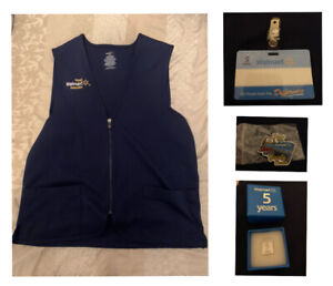 Walmart SMALL Associate Uniform Vest Employee Blue Size S With badge, 5 Year Pin