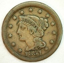 1851 Braided Hair US One Cent Penny Coin 1c Copper Coin VF Very Fine Large Cent