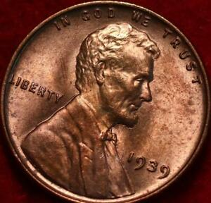 Uncirculated Red 1939 Philadelphia Mint Copper Lincoln Wheat Cent