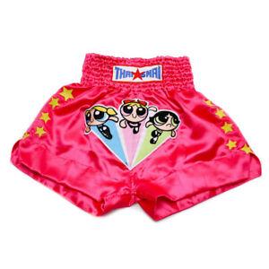 Powerpuff Girls Muay Thai Shorts Mma Men Kids Kick Boxing Satin Pants Wear Pink