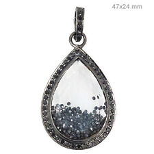 925 Sterling Silver Fine Jewelry Cy Pave 3.68ct Diamond Pear Shaker Pendant