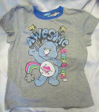 Blue Care Bears Heart Rainbow Daydream Awesome Junior XXL Ringer T-shirt NEW
