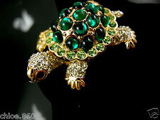 SIGNED SWAROVSKI PAVE' CRYSTAL TURTLE PIN~BROOCH RETIRED RARE NWT