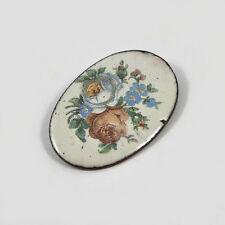 Vintage Emaille-Brosche / Blumendekor / enamel coating brooch / flower pattern