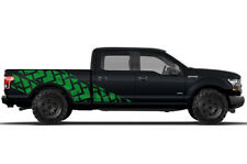Vinyl Decal Wrap Kit TIRE TRACKS for Ford F-150 2015-17 GREEN SuperCrew 6.5 Bed
