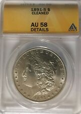 1891 s morgan silver dollar, ANACS AU58 Details, Cleaned In Distant Past