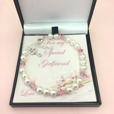 Valentines Gift for Girlfriend, Wife, Fiancee, Birthstone Bracelet with Pearls