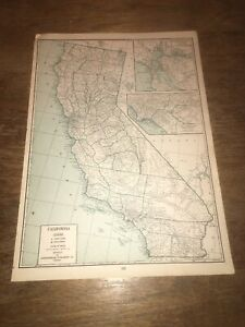 Original Vintage 1942 California And Colorado Atlas State Map County