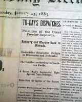 Rare HELENA MT Montana w/ Montello Nevada Train Robbery 1883 Old West Newspaper