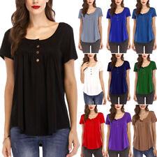Women Plus Size Short Sleeve Tunic Tops Summer Casual Soild Loose Blouse T-Shirt