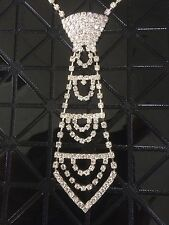 Cravate Collier Chaîne en Strass Cristal Argent Bijoux Accessoire Soirée Mariage