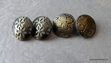 Button mix - 4 antique bronze buttons with flower designs - 17mm