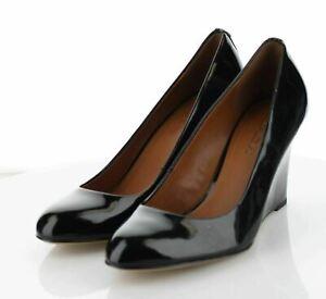 S62 MSRP $195 Women's Sz 9 M Coach Roni Patent Leather Open Toe Wedges - Black