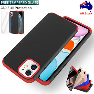 For iPhone 11 Pro Max Case Slim Hybrid Shockproof Hard Thin Tempered Glass Cover