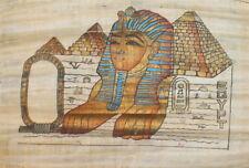 VINTAGE EGYPTIAN FOLK ART HAND PAINTED PAPYRUS PAINTING SPHYNX