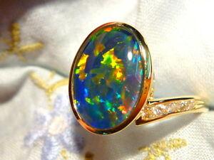 Opal Ring Ladies 14ct Yellow Gold & Diamond 13 x 9mm Oval Shape Triplet. #90583