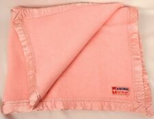 Vintage Baby Blanket Pink w/ Satin Trim Edge 36 x 45 Cotton Kingswool Canada