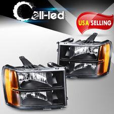 For 2007-2013 GMC Sierra 1500 2500HD 3500HD Headlights Black Housing Clear Lens