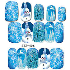Full Wrap Nail Art Water Decals Stickers Christmas ICE BLUE Snowflakes (STZ406)