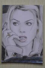 DR WHO ROSE TYLER (BILLIE PIPER) COMMISSIONED COLOUR SKETCH CARD BY Wu Wei -2011