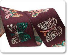 "FREE SHIP Bonnie Christine Aubergine Butterflies 7/8"" woven ribbon PER YARD"