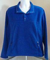 EUC L.L. LL Bean Mens T-Snap Fleece Pullover Jacket Blue / Purple Large L FS!