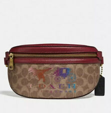 NWT - COACH Belt Bag In Signature Canvas With Rexy And Carriage in Tan/Deep Red