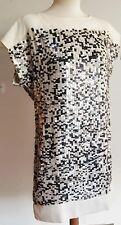 Women's NEXT 60s Tunic  IVORY BLACK Sequin Party Mini Dress Handmade UK 10 £125