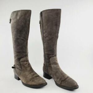 Born CUPRA Women Brown Distressed Suede Tall Knee High Zip Moto Boot Size 8.5M