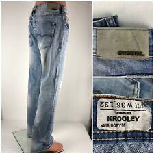 Diesel Krooley Mens 36 X 32 Jeans Light Wash 008YM Made In Italy Distressed
