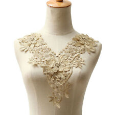 Gold Trim  Applique Floral Lace Collar Embroidery Neckline Motif Trendy Design